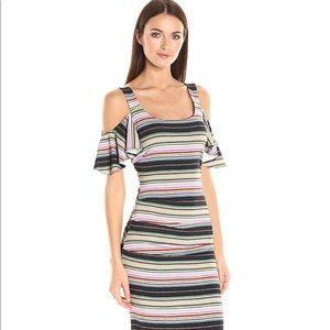 NWT Nicole Miller Striped Cold Shoulder Midi Dress